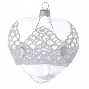 Heart Shaped Bauble in blown glass with lace decoration 100mm