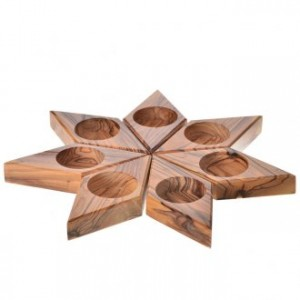Olive wood star candle-holder