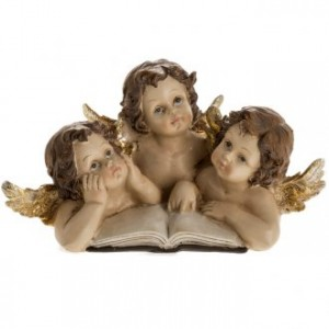Three angels with book, Christmas decoration
