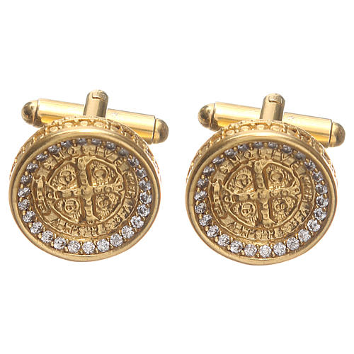 Cufflinks with St Benedict cross in gold plated brass