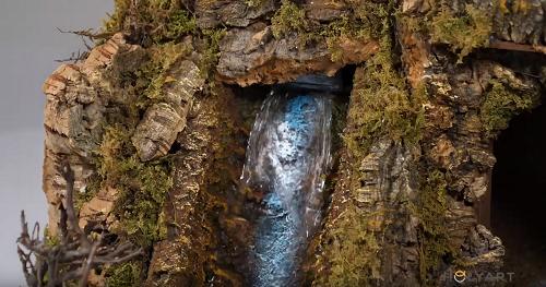 Nativity with waterfall
