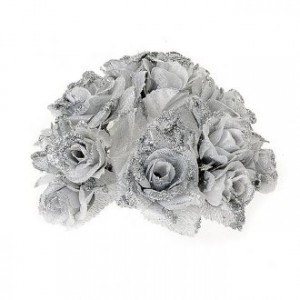 Christmas decoration candle holder ring roses silvery glitter