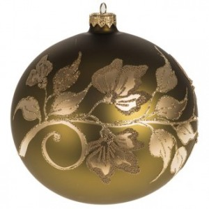 Christmas tree bauble, gold painted glass 15cm