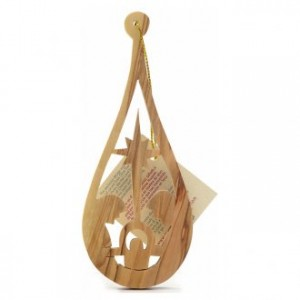 Christmas tree decoration in Holy Land olive wood, drop with nat