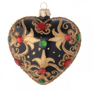 Heart Shaped bauble in black and gold blown glass with red stones 100mm