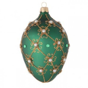 Oval Christmas bauble in green and gold blown glass 130mm
