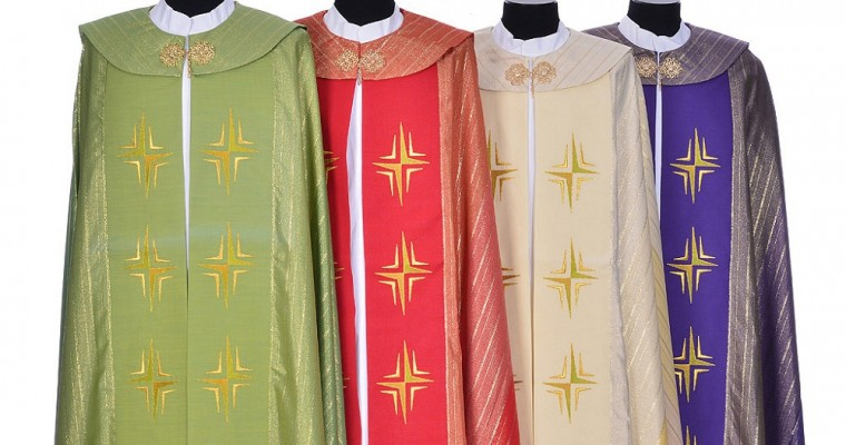 Liturgical cope: The vestment worn by priests in celebrations
